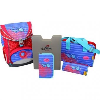 DerDieDas Schulrucksack Set Ergoflex Dolphin 5-tlg. + gratis Tuschkasten