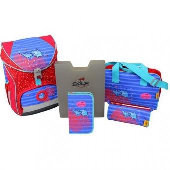 DerDieDas Schulrucksack Set Ergoflex XL Dolphin 5-tlg. + gratis Tuschkasten