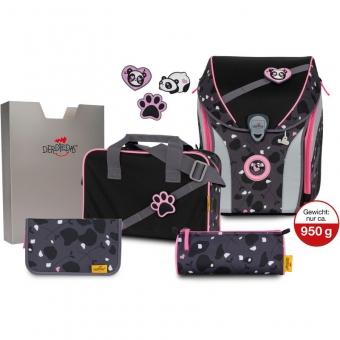 DerDieDas Schulranzen Set Ergoflex MAX Buttons (5-tlg.), Pink Panda