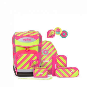 Ergobag Schulrucksack Set (6-tlg.) cubo NEO-Edition, StrahleBär, Farbe/Muster: Pink