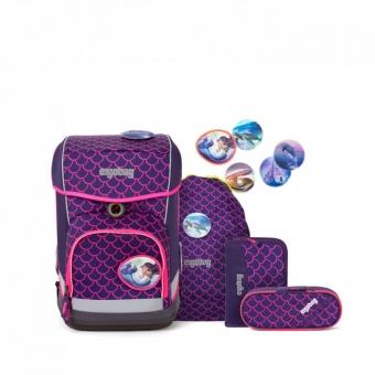 Ergobag Schulrucksack Set (5-tlg.) cubo light, PerlentauchBär, Farbe/Muster: Pinke Wellen