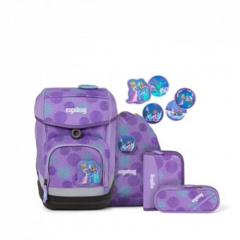 Ergobag Schulrucksack Set (5-tlg.) cubo REFLEX GLOW-Edition, SchlittenzauBär Glow, Farbe/Muster: Lila Eisblumen