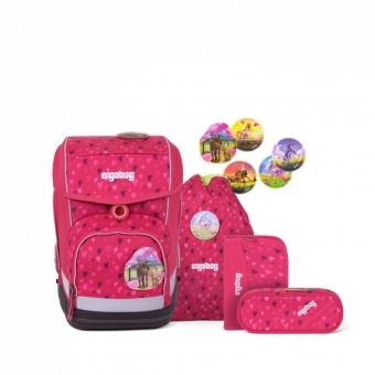 Ergobag Schulrucksack Set (5-tlg.) cubo, HufBäreisen, Farbe/Muster: Pinke Herzen