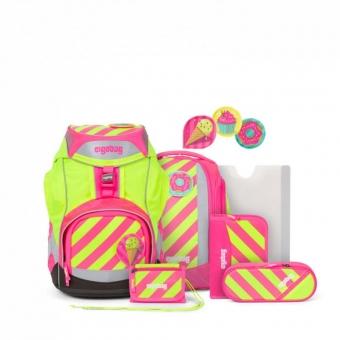 Ergobag Schulrucksack Set (7-tlg.) NEO-Edition, StrahleBär, Farbe/Muster: Pink