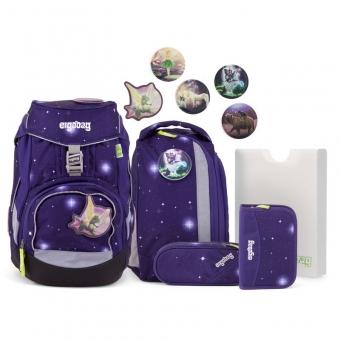 Ergobag Schulrucksack Set (6-tlg.) GALAXY GLOW-Edition, Bärgasus Glow, Farbe/Muster: Lila Galaxie Glow
