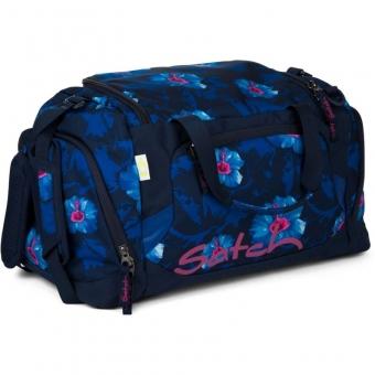 Satch Sporttasche, Waikiki Blue, Blau Weiße Blumen