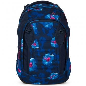 Satch Match Schulrucksack, Waikiki Blue, Blau Weiße Blumen