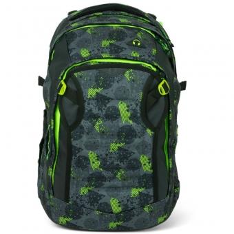 Satch Match Schulrucksack, Off Road, Farbe/Muster: schwarz, grün, neon