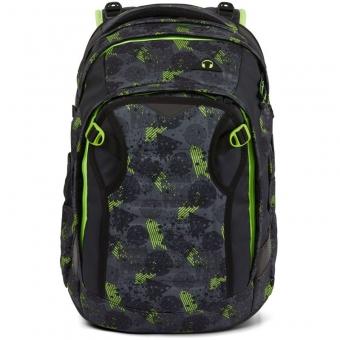 Satch Match Schulrucksack, Off Road, Farbe/Muster: black, green, neon