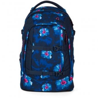 Satch Schulrucksack, Waikiki Blue, Blau Weiße Blumen