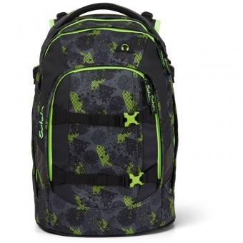 Satch Schulrucksack, Off Road, Farbe/Muster: black, green, neon