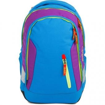 Satch Sleek Schulrucksack, Flash Jumper, Color Block Blau Grün