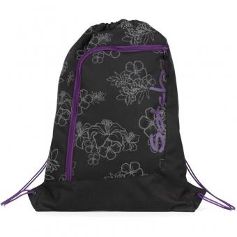 Satch Sportbeutel Ninja Hibiscus, Farbe/Muster: Schwarz-silber Blumen