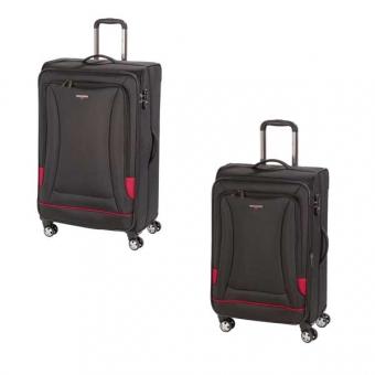 HARDWARE O-Zone Koffer Set 2tlg, Farbe: Black/Red, bestehend aus: Trolley M und Trolley L mit je 4 Rollen