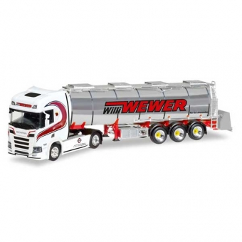 Herpa 308427 Scania CR HD Chromtank-Sattelzug Willi Wewer 1:87