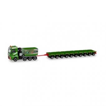 Herpa 311632 MAN TGX XXL Schwerlast-Zugmaschine m. Ballastpritsche u. 10 Achslinien Kübler 1:87