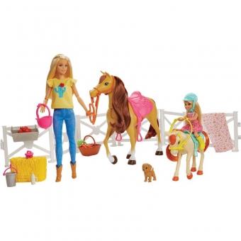 Mattel FXH15 Barbie Reitspaß mit Barbie (blond), Chelsea, Pferd und Pony
