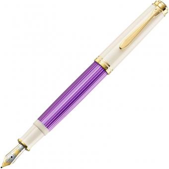 Pelikan Special Edition Kolbenfüllhalter Souverän® M600 Violett-Weiß, Federbreite: B