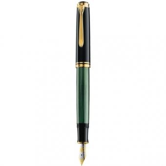 Pelikan Kolbenfüllhalter Souverän M 600, Schwarz-Grün mit Bicolor-Goldfeder 14-K/585, Federbreite: M