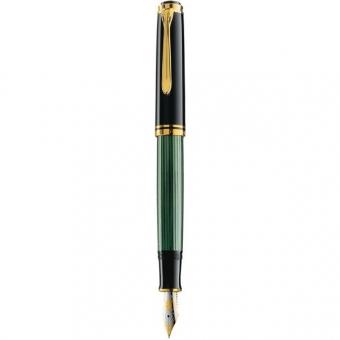 Pelikan Kolbenfüllhalter Souverän M 800, Schwarz-Grün mit Bicolor-Goldfeder 18-K/750, Federbreite: M