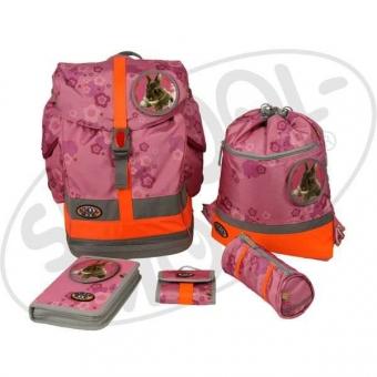 School-Mood Fly Schulranzen Maxi Set - Hase - pink + gratis Tuschkasten