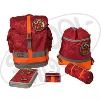 School-Mood Fly Schulranzen Maxi Set - Schmetterling - rot + gratis Tuschkasten