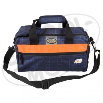 School Mood Sporttasche (klein) - Labradorwelpen, karo blau