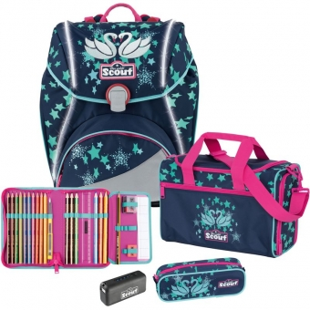 SCOUT Alpha Schulranzen Set 4 tlg. Safety Light Silver Swan + gratis Tuschkasten