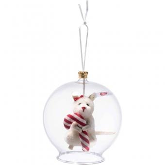 Steiff 006296 Candy Cane Maus in Glaskugel Ornament, Mohair, 8 cm, weiß