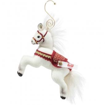 Steiff 006920 Weihnachtspferd Ornament, Baumwollsamt, 10 cm, weiß