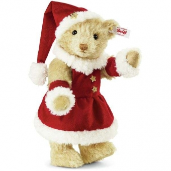 Steiff 021381 Mrs Santa Claus Teddybär, Mohair, 27 cm, vanille, mit Musikwerk