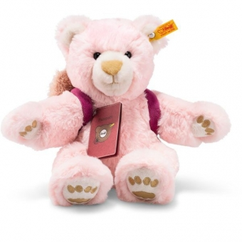 Steiff 022180 Around the world bears Weltenbummlerin Lula Teddybär, Plüsch, 30 cm, rosa