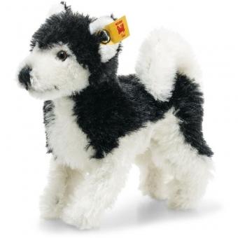 Steiff 026683 Wildlife Giftbox Husky, Mohair, 11 cm, schwarz/weiß
