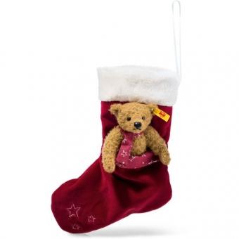 Steiff 026751 Teddybär mit Weihnachtssocke, Mohair, 15 cm, rotbraun