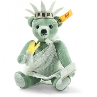 Steiff 026874 Great Escapes New York Teddybär in Geschenkbox, Baumwollsamt, 15 cm, grün