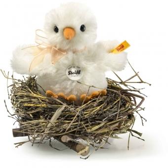 Steiff 033087 Küken im Nest, Alpaka, 12 cm, weiß