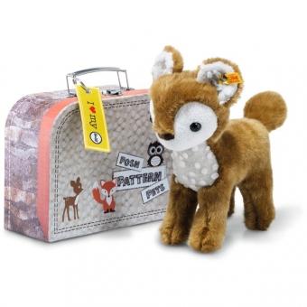 Steiff 045486 Posh Pattern Pets Darlin Reh im Koffer, Plüsch, 23 cm, braun/weiß