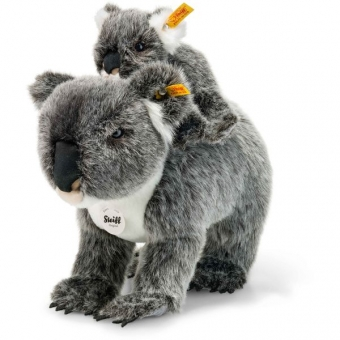 Steiff 060076 Koala mit Baby, Plüsch, 31 cm, grau/weiß gespitzt