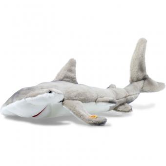 Steiff 063633 Sam Hammerhai, Webpelz, 62 cm, grau/weiß