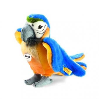 Steiff 063879 Lori Papagei ,26cm, Webpelz, blau/gelb, stehend