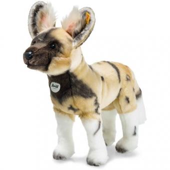 Steiff 066122 Aboki Afrikanischer Wildhund, Plüsch, 38 cm, blond/braun/weiß