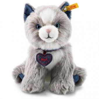 Steiff 084430 Denim Darlings Paws Katze, Webpelz, 21 cm, hellgrau/weiß
