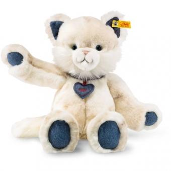 Steiff 084447 Denim Darlings Miau Katze, Plüsch, 33 cm, weiß