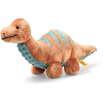 Steiff 087837 Bronko Brontosaurus, Plüsch, 28 cm, dunkelorange/petrol