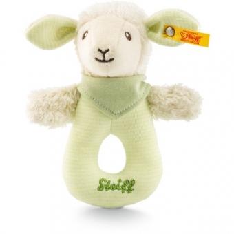 Steiff 237928 Lenny Lamm Greifring mit Rassel, Baumwolle, 15 cm, grün