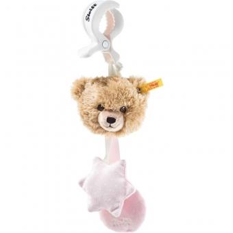 Steiff 240409 Schlaf-gut-Bär Kinderwagenspielzeug, Plüsch, 20 cm, beige/rosa