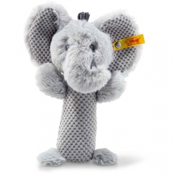 Steiff 240768 Soft Cuddly Friends Ellie Elefant Rassel, Plüsch, 15 cm, grau