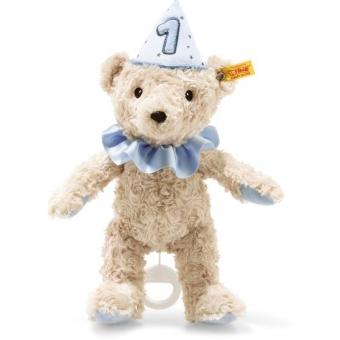 Steiff 240881 1. Geburtstag Teddybär Junge Spieluhr, Plüsch, 26 cm, hellblond