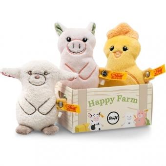 Steiff 240973 Happy Farm Mini Band, Plüsch, 10 cm, gelb/rose/creme