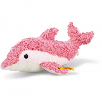 Steiff 241413 Sea Sweeties Dala Knister-Delphin mit Quietsche, Plüsch, 23 cm, pink/weiß